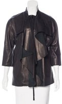 Marni Ruffle-Trimmed Leather Jacket