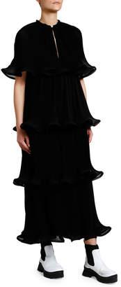 Stella McCartney Micro-Pleated Ruffle Tiered Keyhole Dress