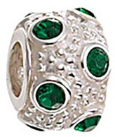 Zable Sterling Silver May Birth Month Green Crystals Bead
