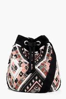 boohoo Isabelle Aztec Embellished Duffle Bag
