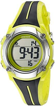 Armitron Sport Women's 45/7063LGN Digital Chronograph Black and Lime Green Resin Strap Watch