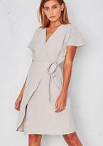 Missy Empire Paris Grey Wrap Tie V Neck Crepe Dress