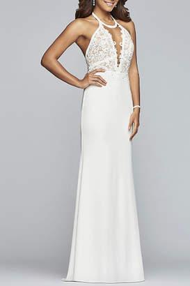 Faviana Long jewel neck matte stretch crepe dress