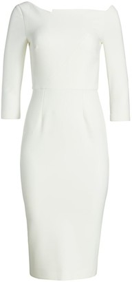 Roland Mouret Witham Asymmetric Crepe Sheath Dress