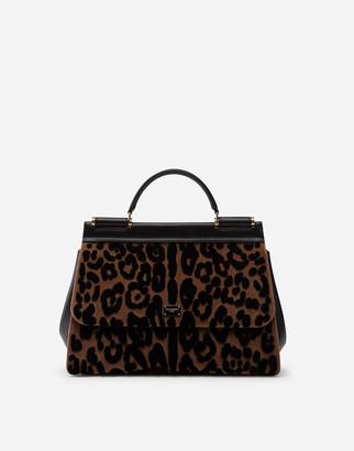 Dolce & Gabbana Soft Medium Sicily Bag In Leopard Print Velvet Stitch