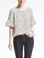 Banana Republic Easy Care Print Flutter-Sleeve Top