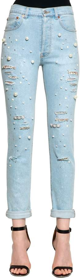Couture Forte Dei Marmi Embellished Cotton Denim Jeans
