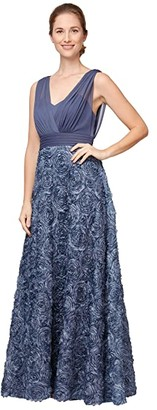Alex Evenings Long Sleeveless A-Line Rosette Dress (Wedgewood) Women's Dress