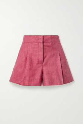 Melange Home + Net Sustain Pleated Organic Wool, Silk And Linen-blend Shorts