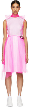 Prada Pink and White Poplin Mesh Overlay Dress