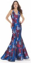 Morrell Maxie Cascading Ruffle Open Back Printed Evening Dress