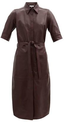 Frame 70s Leather Short-sleeved Shirt Dress - Burgundy