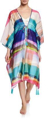 Josie Natori Brushstrokes Plaid Kimono