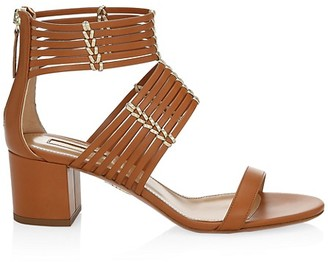 Aquazzura Ravello Flat Leather Sandals