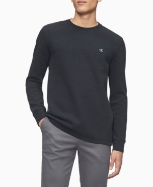 Calvin Klein Men's Monogram Logo Waffle-Knit Long Sleeve Tee