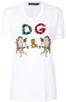 Dolce & Gabbana D G cherub T-shirt - women - Silk/Cotton/Polyester/glass - 40