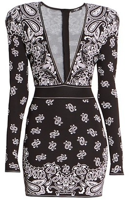 Balmain Jacquard V-Neck Mini Dress