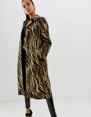 Asos Design DESIGN tiger printed trench-Multi