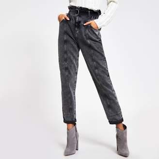 River Island Womens Grey acid wash paperbag waist utility jeans
