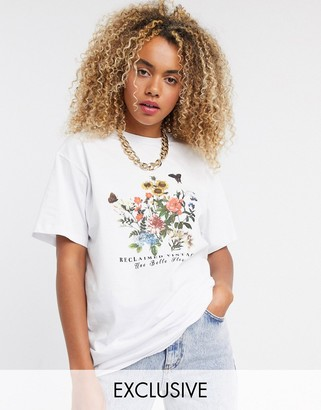 Reclaimed Vintage inspired t-shirt with butterfly and flower print in white