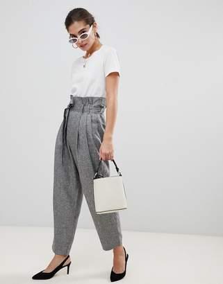 UNIQUE21 Uinque 21 paper bag waiste tie front trouser-Grey
