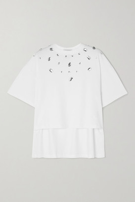 Christopher Kane Cropped Crystal-embellished Cotton-jersey T-shirt - White