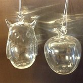 Design Ideas Clear Glass Owl and Clear Glass Apple Christmas Ornaments (1 of each)