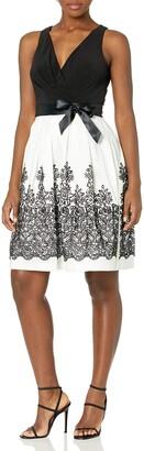 Chetta B Women's Halter Party Dress Embroidered Skirt