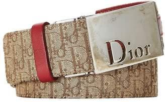 Christian Dior Burgundy & Brown Trotter Canvas Reversible Belt 90