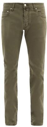 Jacob Cohen Mid-rise Cotton-blend Slim-leg Chinos - Khaki