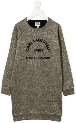 Karl Lagerfeld Paris Logo Embroidered Sweatshirt Dress