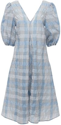 Ganni Seersucker Check Cotton Blend Midi Dress