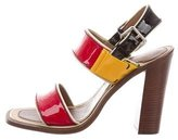 Prada Patent Leather Colorblock Sandals w/ Tags