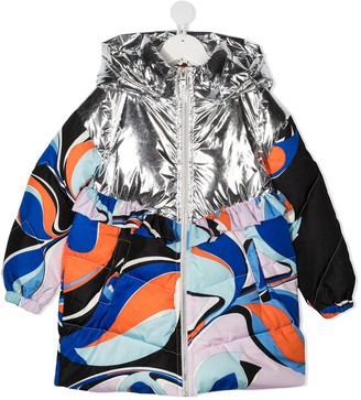 Emilio Pucci Junior Abstract Print Padded Coat