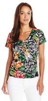 Caribbean Joe Women's Petite Best Selling Paisley Printed V-Neck Side Ruched T-Shirt