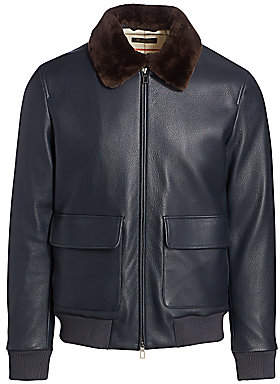 Loro Piana Men's Nutria Fur-Collar Leather Jacket