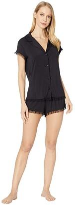 Eberjey Iona PJ's - The Short Sleeve Short Ruffle PJ Set (Black) Women's Pajama Sets