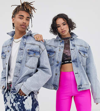 Collusion COLLUSION Unisex denim jacket in light stone wash-Blue