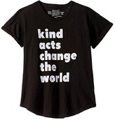 Original Retro Brand The Kids Kind Acts Change The World Rolled Short Sleeve Slub Tee (Big Kids) (Black) Girl's T Shirt