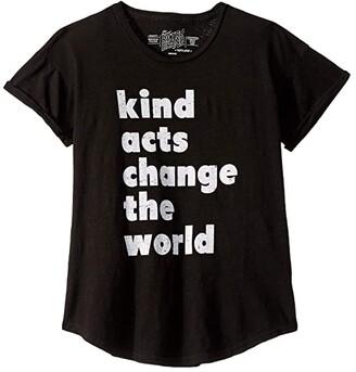 The Original Retro Brand Kids Kind Acts Change The World Rolled Short Sleeve Slub Tee (Big Kids) (Black) Girl's T Shirt