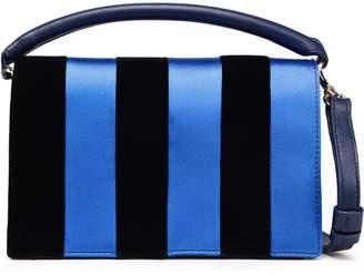Diane von Furstenberg Striped Satin, Velvet And Leather Shoulder Bag