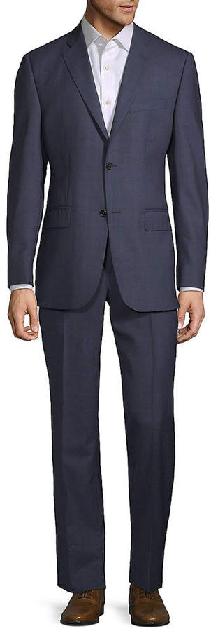 Ermenegildo Zegna For Saks Fifth Avenue Wool Suit With Flat Front Pant