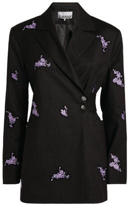 Ganni Floral Embroidered Blazer
