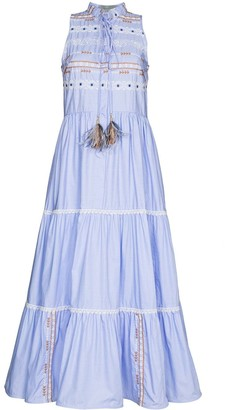 Silvia Tcherassi Geometric Embroidery Long Dress
