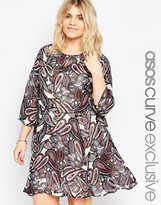 Asos Skater Dress In Light Paisley Print