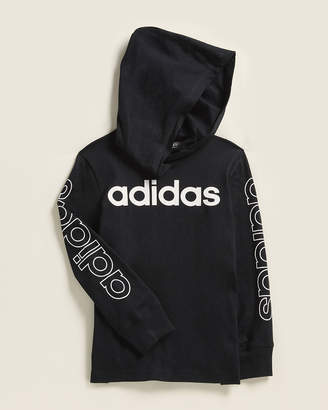 adidas Toddler Boys) Long Sleeve Linear Logo Hooded Tee
