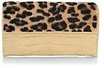 Nancy Gonzalez Women's Small Gotham Leopard-Print Goat Hair & Crocodile Clutch