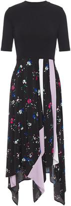 Maje Asymmetric Floral-print Crepe, Chiffon And Stretch-cotton Jersey Midi Dress