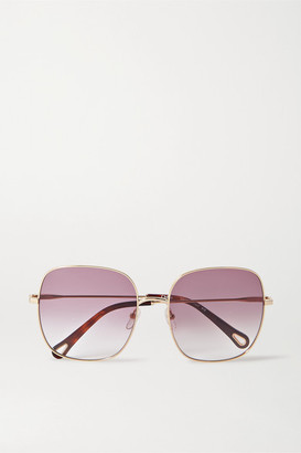 Chloé Square-frame Gold-tone And Tortoiseshell Acetate Sunglasses