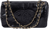 One Kings Lane Vintage Chanel Black Patent Stitched Flap Bag